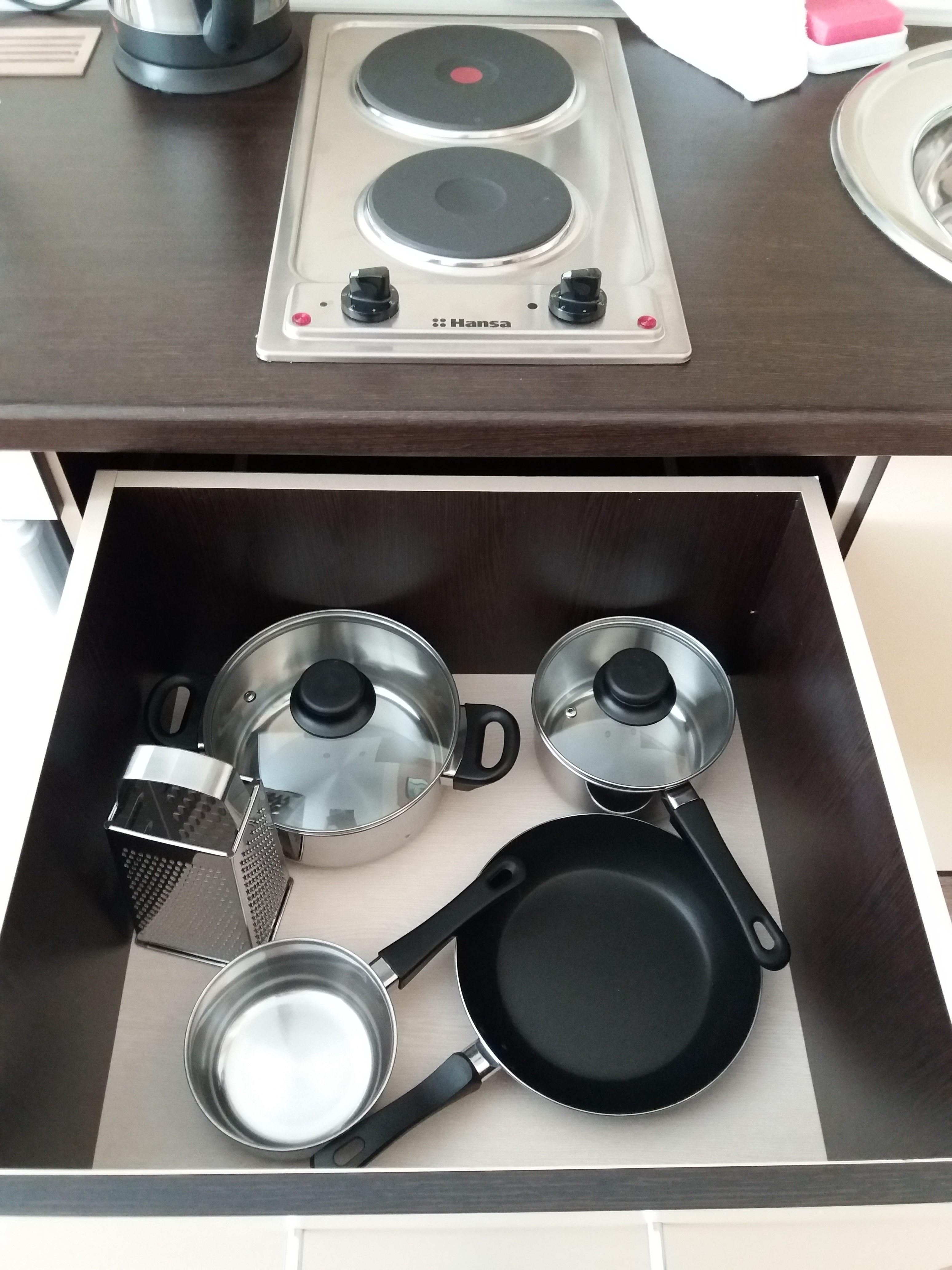 Вся необходимая посуда в наличии